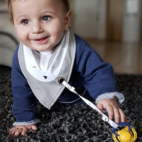 iZiv Baberos del Bebé - Paquete de 4 Diseños Pañuelo con Snaps Ajustables Clip de Chupete , TPU Impermeable Guarnición para niño 0-2 años (Color-7) Color-2