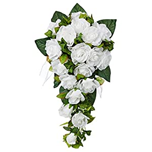 White Silk Rose Cascade - Silk Bridal Wedding Bouquet 51