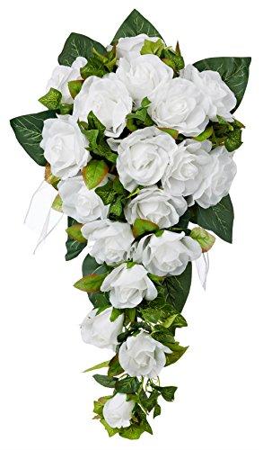 White Silk Rose Cascade - Silk Bridal Wedding Bouquet