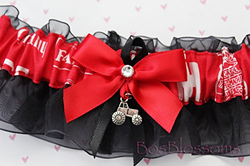 Customizable handmade - Case IH fabric handmade on black sheer organza into fabric keepsake bridal wedding prom toss homecoming garter with 3D silver tractor charm -