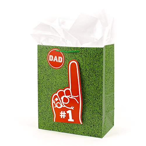 Hallmark Large Gift Bag with Tissue Paper (Sports Field Turf and Number One Dad Finger)