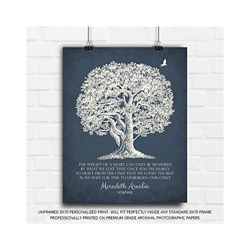 Personalized in Memory of Plaque Sympathy Gift The Weight of a Heart Poem for Lost Loved One Gift of Condolence Funeral Gift Oak Tree Poem Tree of Life - 8x10 - Personalized Poem Plaque