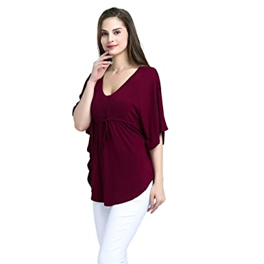 4c41d66a97d Yagoor Women's V-Neck Casual Loose Fit Tunic Shirt Drawstring Detail  Tailored Batwing Short Sleeve