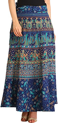 ound Long Skirt with Printed Weddin - Color Twilight Blue (Indian Wrap Skirt)