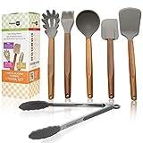 Silicone Cooking Utensils Set - Wooden Silicone Kitchen Utensil Set - Acacia Spoon Spatula Tongs