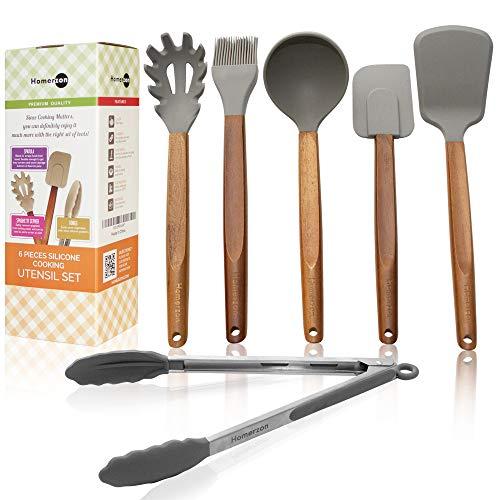 Homerzon Silicone Cooking Utensils Set - Wooden Silicone Kitchen Utensil Set - Acacia Spoon Spatula Tongs ()