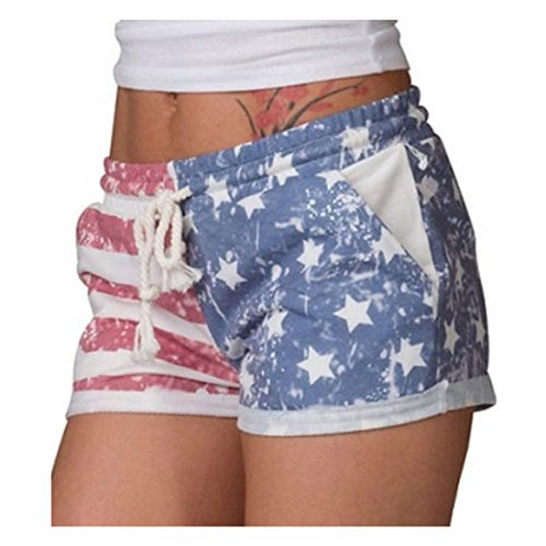 String Tri Top (Hunzed Women Sexy Hot Shorts American Flag Shorts Drawstring Elastic Beach Pants For Ladies (M, Multicolor))