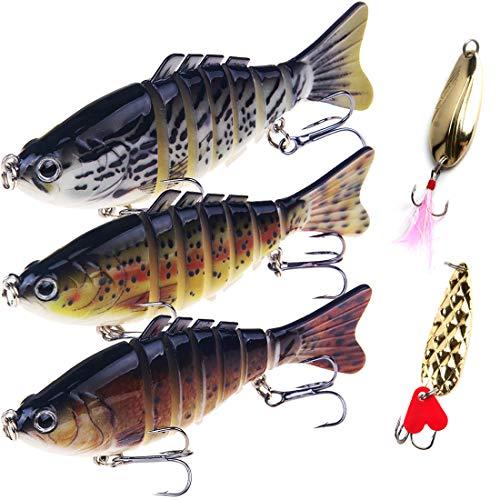 Fishing Lures Bass Lures Set,Fishing Lures for Bass Multi Jointed Swim baits Slow Sinking Hard Lure Fishing Tackle Kits Lifelike (3.9) (Bass Set Lure Fishing)