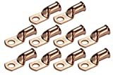 TEMCo 10 Lot 2/0 AWG Ring 3/8'' Hole Terminal Lug Bare Copper Uninsulated Gauge