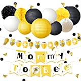 NICROLANDEE Bee and Honey Birthday Decoration Mommy To Bee Card Banner Garland Hanging Paper Lanterns Round