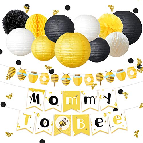 NICROLANDEE Bee and Honey Baby Shower Decoration Mommy To Bee Card Banner Garland Hanging Paper Lanterns Round Honeycomb Ball Gold Glitter Bumble Bee Confetti for Yellow Black Pregnant Party Decor -