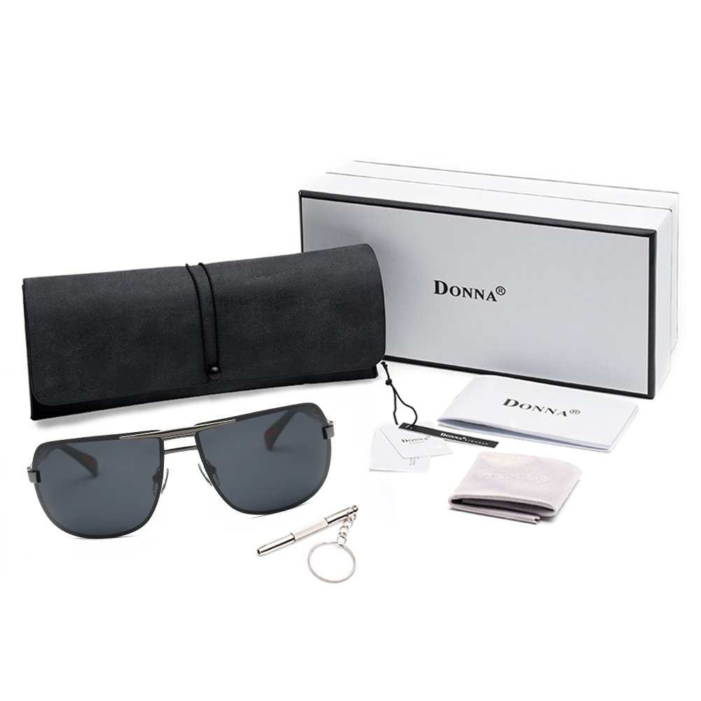 e1be290d65fa DONNA Oversized Sports Sunglasses with Big Wrap Around Lens and Double  Bridge for Driving Golf Motorcycle Baseball D60(Silver Black frame):  Amazon.ae