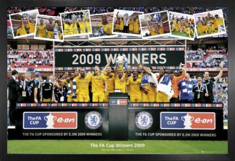1art1 Football Poster and Frame (MDF) - F.C. Chelsea, FA Cup Winners 2009 (36 x 24 inches)