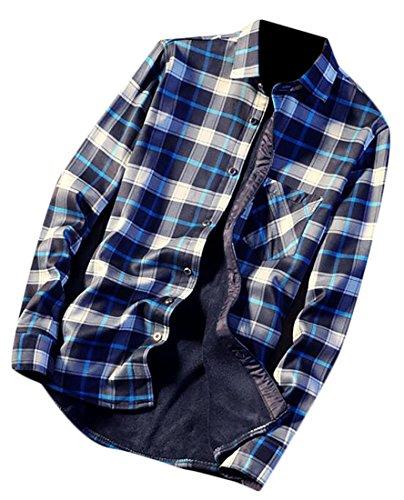 Fleece Plaid Down Mens UK Fit today Winter Shirt Lined Button 3 Slim nqYxX6f