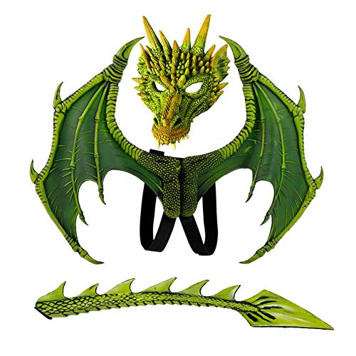 Summer Costume For Kids (Balai Kids Fantasy Halloween Dinosaurio Dragon Costume Child Animal Mask Wing Tail Accessory)