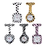 Set of 5 High Quality Brooches / Fobs Watches In Infections Control Silicone Hygienic Protection Covers / Holders With Colorful Patterns / Designs By VAGA