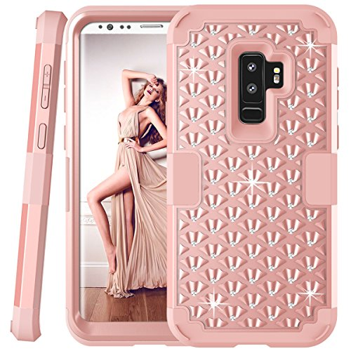 Galaxy S9 Plus Glitter Case, Sparkly Bling Rhinestones, Daker Drop Resistant Heavy Duty Silicone Rubber Bumper+Hard Back Hybrid Protective Phone Case for Samsung Galaxy S9 Plus 2018 (Rose Gold)