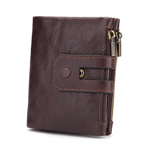 Rfid Brown Surface Wax Skin Short Wallet Fold Oil Double Men's Wear Casual Three Soft Zipper 8pWq8H6r