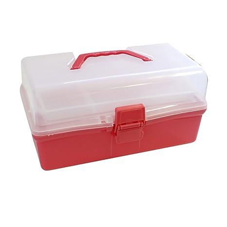 KurtzyTM Caja Organizador Plástico Rojo Transparente Grande Niveles Manualidades Pasatiempo Viajes