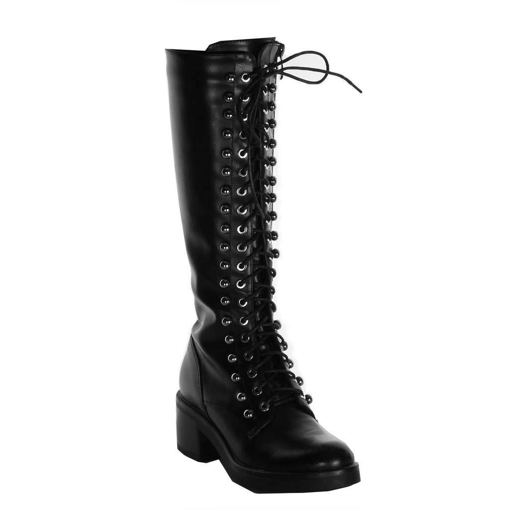 Angkorly - Damen Schuhe Stiefel - Combat Stiefel - Biker - Rock - Perle - Nieten - Besetzt Blockabsatz high Heel 5.5 cm
