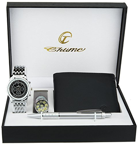 (Gift Set Men's Watch Black- LED Lamp - Wallet -Pen)