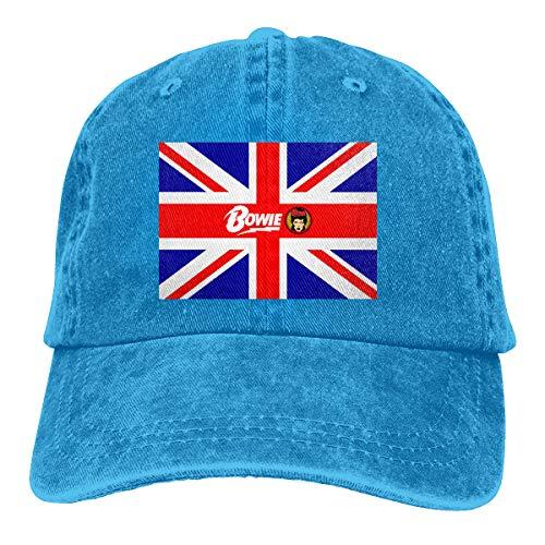SUIT AND TIE David Bowie Logo Men Adjustable Vintage Washed Denim Baseball Cap Hat Trucker Hat ()