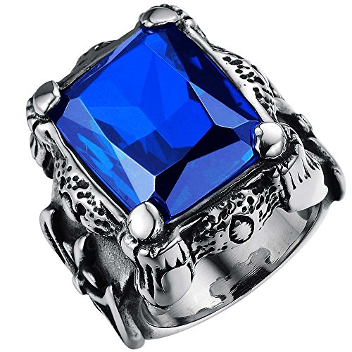 XAHH Mens Stainless Steel Vintage Gothic Sapphire Blue Crystal Dragon Claw Knight Cross Flower Large Ring