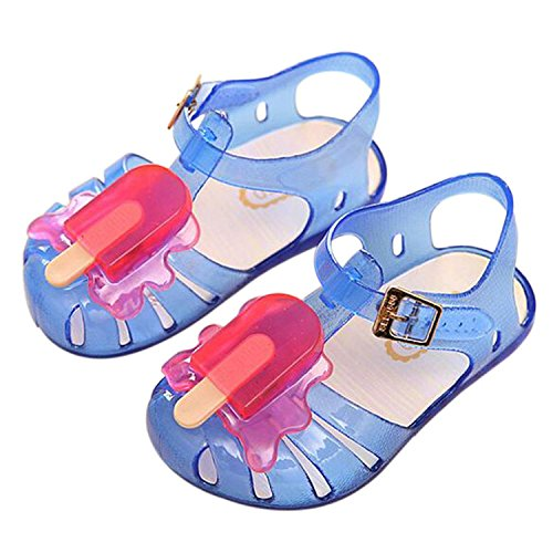 Meijunter Sommer Baby Mädchen Jungen Popsicles Eis Niedlich Gelee Anti-Rutsch Weich Flache Schuhe Kinder Strand Sandalen Regen Stiefel Blau