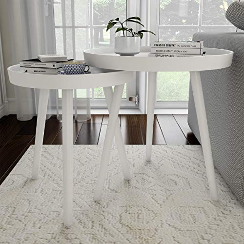 Lavish Home Contemporary Decor and Home Accent Table with Tray Top (White, Set of 2),