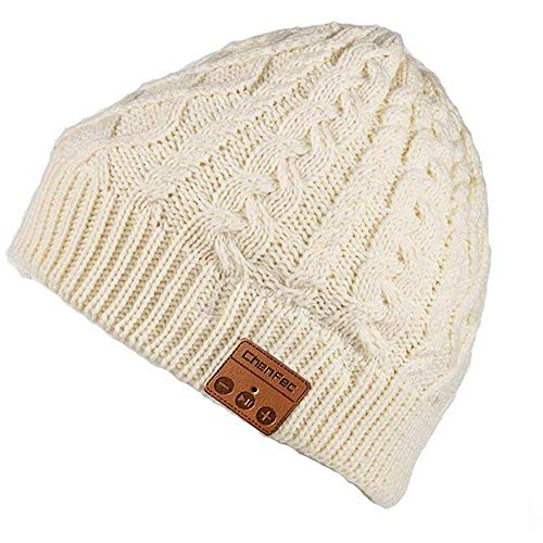 Bluetooth Beanie Hat Cap with Wireless Bluetooth Headphone Headset Earphone Music Audio Hands-Free Phone Call for Winter Sports Fitness Gym Exercise, by DeeFec - White Flower