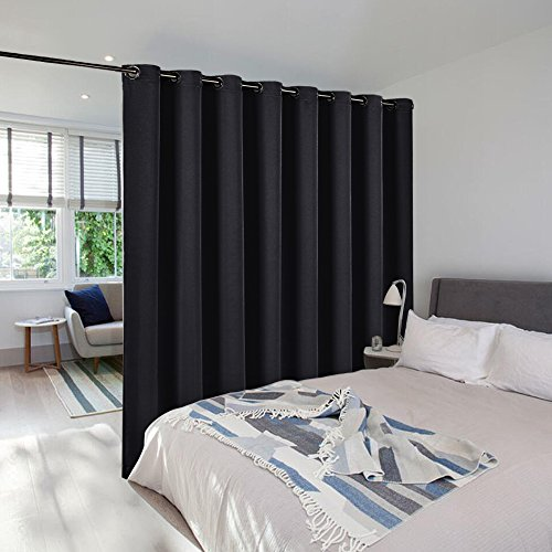 Commercial Curtain - Room Dividers Panel Screens Partitions - NICETOWN Wide Width Grommet Top Morden Privacy curtain Room Divider, Commercial Room Dividers (1 Pcs, 8ft Tall x 15ft Wide,Black)
