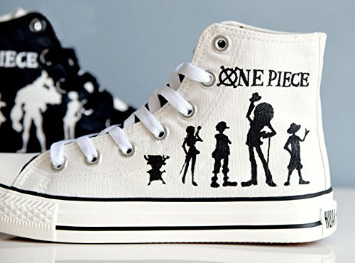 One Piece Anime Luffy Cosplay Shoes Canvas Shoes Sneakers Hand-painted Shoes Black and White