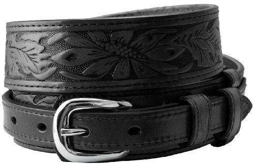 Carson's Western Tooled Genuine Leather Casual Jean Ranger Belt (40 Black)