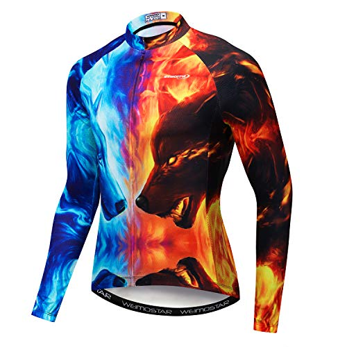 Cycling Jerseys Men's Long Sleeve Bike Shirts Full Zip Bicycle Jacket Pockets 3D Fire Wolf Size 4XL