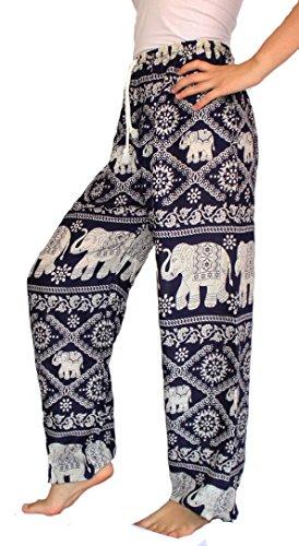Banjamath? Women's Smocked Waist Harem Hippie Boho Yoga Palazzo Casual Pants (XL, Dark Blue with drawstring waist)