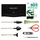 Planters' Choice Bonsai Tool Kit Deluxe - Includes: Wooden Rake, Long & Wide Spades, Scissors, Tweezers, Bamboo Brush, and Pruning Shears (Trimmer/Clipper) in Fabric Storage Holder | Bonsai Tools