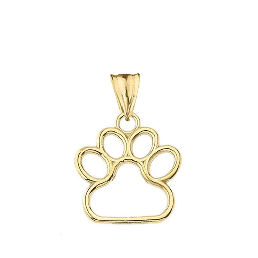 Dainty 14k Yellow Gold Dog Paw Print Outline Charm Pendant (Small)