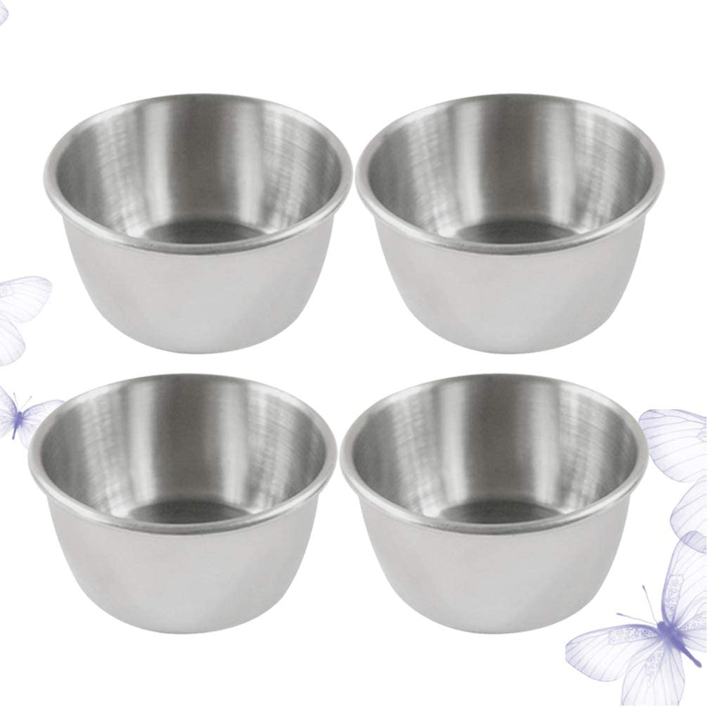 UPKOCH Dipping Bowl Stainless Steel Small Reusable Sauce Container Appetizer Dishes Sauce Cups for Barbecue Restaurant Home 4pcs