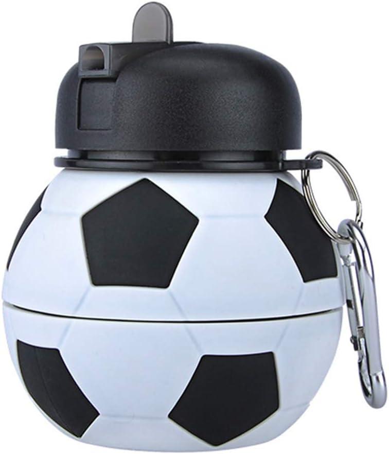 taianle Botella de Agua Plegable Botella de Bebida de Fútbol para Niños Botella de Silicona Plegable Regalo