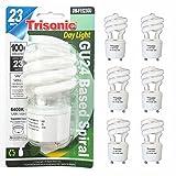 6 Pc Daylight Bulb Light 23 W Energy 100 Watt Output Spiral White Fluorescent