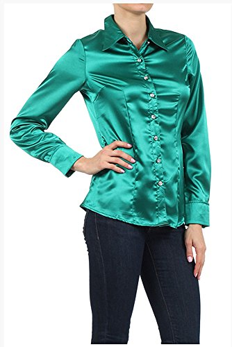 Iron Puppy Womens L/Sleeve Satin Blouse Button Down Shirts with Cuffs Small Emerald ()