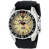 Wrist Armor Men's WA328 C3 Stainless Steel Analog Display Swiss Quartz GMT Watch with Black Silicone Strap