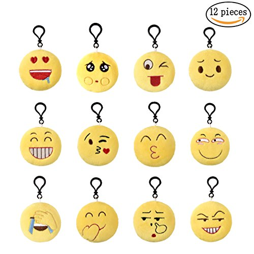 Supshopping Newest Emoji Keychain Plush Birthday Party Supplies Favors Poop Laughing emoji Bulk for Kids Girls Boys Bags Perfect Christmas Holiday Gift Students Prizes Set of (Games For Middle School Halloween Party)