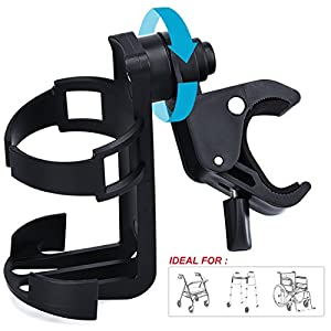 OasisSpace Rollator Cup Holder, Adjustable Universal Size Heavy Duty 360 Degree for Drive Medline Wheelchair Walker Bike