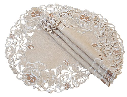 rolling Rose Embroidered Cutwork Floral Doilies, 12-Inch Round, Taupe, Set of 4 ()