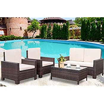 Amazoncom Patio Furniture Set 4 Pieces Outdoor Wicker Sofa Rattan