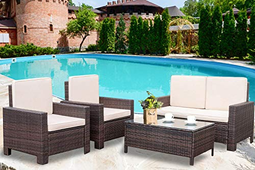 (Patio Furniture Set 4 Pieces Outdoor Wicker Sofa Rattan Chair Garden Conversation Set Bistro Sets with Coffee Table for Porch Poolside Backyard)