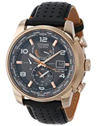 Citizen Men's AT9013-03H World Time A-T Eco-Drive World Chrono Black Leather Strap Watch