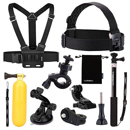 Luxebell® 9 in 1 Zubehör-Kit für Sony Action Cam HDR-AS15 / AS20 / AS30V / AS100V / AS200V / Sony Action Cam HDR-AZ1 Mini Sony FDR-X1000V / W 4K-Kameras, Handheld Monopod ausdehnbarer Teleskop Pole + Brustgurt Berg + Schwimm Handgriff + Fahrrad-Lenkstange-Einfassungs-Halter + Kopf-Halteband Berg + Car Saugnapf + Aufbewahrungstasche