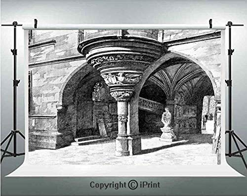 Gothic Photography Backdrops Old Sketch of Antique Medieval European Arch in Paris Culture Heritage Vintage Art,Birthday Party Background Customized Microfiber Photo Studio Props,7x5ft,Black -